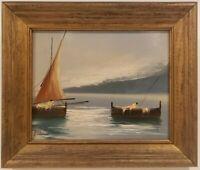 "Vintage Oil Painting on Board Fishing Scene Signed Framed Art  (11"" x 13"")"