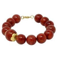 Asymmetrisches Armband aus Koralle 12-14mm rot-braun 925 Silber vergoldet, 21cm