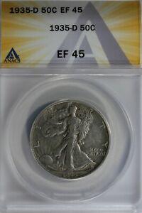 1935-D  50C ANACS EF45 Walking Liberty, Lady Liberty Half, 0.50