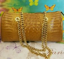 👀THE FIND Italian Leather Shoulder Bag Crocodile Embossed Purse W Gold Chain