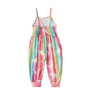 Kids Girls Romper Bohemia Corset Jumpsuit Strap Harem Pants Overalls Bodysuit