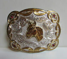 Vintage MONTANA SILVERSMITHS Belt Buckle Signed Red Stone Silverplate HORSE