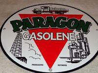 """VINTAGE """"PARAGON MOTOR OIL W/ TRUCK & DERRICK 11"""" PORCELAIN METAL GASOLINE SIGN"""