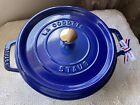 Staub royal blue cast iron cocotte 24
