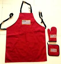 USA Embroidered Logo Apron, Oven Mitt, Pot Holder 3-Pc BBQ Cook Set