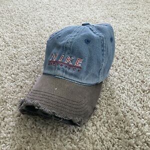 Vintage Nike Denim Hat Size 7.5 Fitted Spell Out Logo Distressed 90s