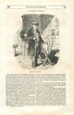 Marchand de gravures étalage de lithographie dessins Paris France GRAVURE 1851