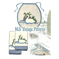 Vintage Embroidery & Applique Pattern ~ Swans for Bath