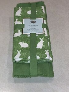 Well Dressed Home Placemats & Napkins 8 Piece Set Green Bunny Spring