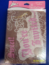 Sweet Birthday Sixteen 16th Pink Brown Girls Cute Party Invitations w/Envelopes