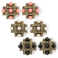 Heidi Daus Tic Tac Toe Button Earrings Black or Cream or Coral Beads