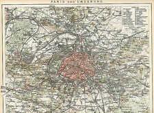 Paris Romainville St. Dennis plan de la ville de 1898 Neuilly Sceaux Versailles Chaton