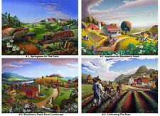 Americana, 50% OFF Any 4 16x20 Prints Folk Art Farm Country Landscapes, Curlee