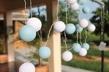 Two Tone Pastel Blue & White Cotton Ball Fairy Light String 220V UK or 110V US