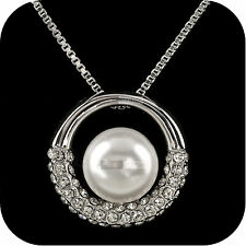 18k white gold gf made with SWAROVSKI crystal pearl pendant fashion necklace