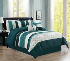 7Pcs Bedding Comforter Sets Bed In A Bag Microfiber Bedding Sets,Teal,King Size