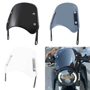 """Universal 5-7"""" Motorcycle Windscreen Headlight Fairing Windshield For Cafe Racer"""