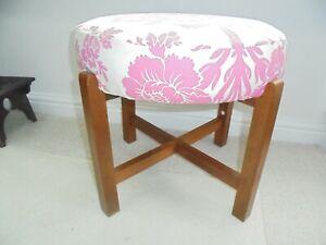 Vintage mcm mid century modern dressing table stool, pink white seat, teak