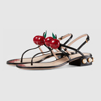 Womens Cherry Flip Flops Block Low Heels Shoes Pearl Sandals Sandal Strappy I946