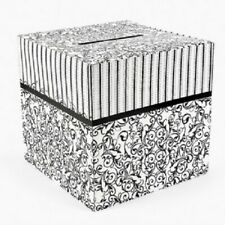 "Cardboard Black and White Wedding Card Box 12"" x 12"""