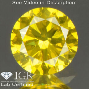 0.28 cts CERTIFIED Round Cut SI1 Vivid Canary Yellow Loose Natural Diamond 24801