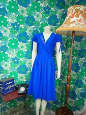 N52 Vintage 1980's Dress Royal Blue Silver Size 10