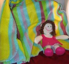 "NOVELTY BLANKET CHILDREN'S BRUNETTE HAIR ATTACHED DOLL DECOR(28""X28"")NEW"