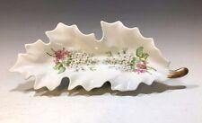 Old Nuremberg Bavaria Germany Leaf Shaped Dish - White/Pink Flowers/Gilt