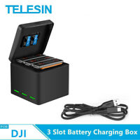 TELESIN 3 Slot Battery Charger Storage Box Carry Case for DJI Osmo Action Camera