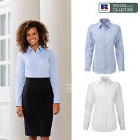Russell Collection Women's Herringbone Shirt R-962F-0 - Long Sleeve Plain Blouse