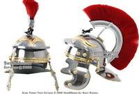 Roman Legion Officer Steel Helmet with Red Plume Armor Gladiator Costume LARP