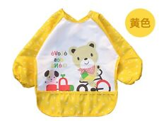 Water resistant feeding bib/art smock fit 6m to 3 yrs old - Yellow Bear