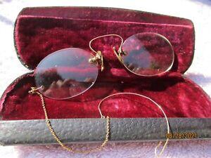 Antique Pair Nose Bridge Pince-Nez Spectacles + Case with Ear Wire,pics for deta