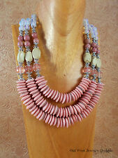 Statement Necklace - African Pink Glass - Chunky Triple Strand Western -Tribal
