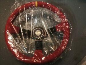OM Style 350 Diameter Steering Wheel Deep Dish Red set Fit OMP