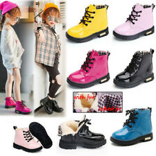 Kids Ankle Boots Boys Girls Shoes Winter Warm Chelsea Fur Lined School hot
