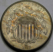 1868 Shield Nickel Gem BU+... VERY NICE WOODGRAIN TONING! Lots of Eye APPEAL!!