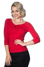 Red Pretty Illusion Vintage 50's Retro Plain Rockabilly Bow Top Banned Apparel