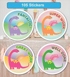 105 Personalised School Teachers Children Parents Dino Reward Sticker Labels
