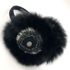 NEW Auth Chanel FOX FUR Classic CC Logo Black Silver Tweed Earmuffs Headband