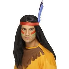 Mens Indian Brave Long Wig w Headband & Feather Fancy Dress Cowboys Pocahontas