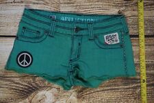 Affliction Women's Daisy Duke Shorts Cutoff Denim Jeans size 27 Turquoise