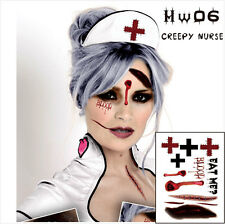 HALLOWEEN TATTOO HALLOWEEN SCARY NURSE TEMPORARY TATTOO NURSE COSPLAY TATTOO