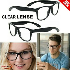 Clear Lens Glasses Nerd Geek Fake Eye Wear Men Women Fashion Square Frame Black