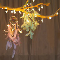 LED Light Handmade Dream Catcher Feather Wall Car Hanging Decoration Ornament