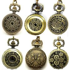 Vintage Steampunk Retro Bronze Quartz Pocket Watch Necklace Chain Pendant Gifts