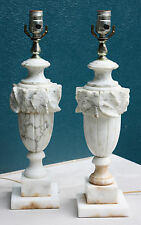 PAIR OF MID-CENTURY ITALIAN WHITE CARRARA MARBLE LAMPS
