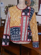 ALLURE LIGHT WEIGHT TRIBAL BOHO PRINT PATCHWORK EMBROIDERED CROPPED JACKET L