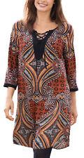 UK Size 8 - 24 Ladies Indian Style Long Tunic Top or Dress in Orange or Green 20 Orange