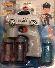 White Police Car Bubble Gun Blower Blaster Flashing LED Lights & Music 3 Refill